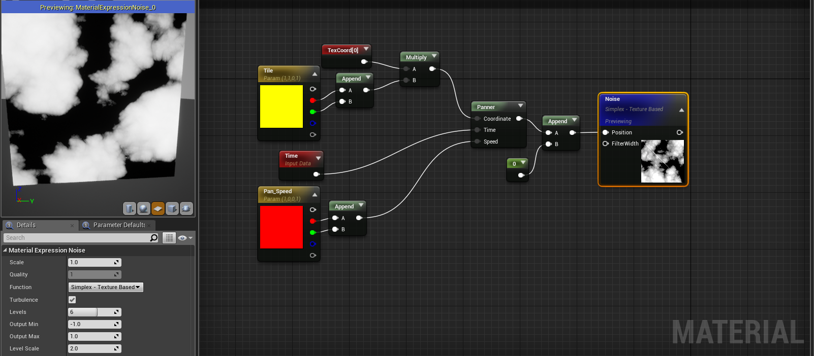 Help with panning a noise node on the y-axis (UE4) (Solved
