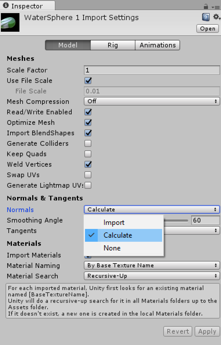 Unity Model Import Settings