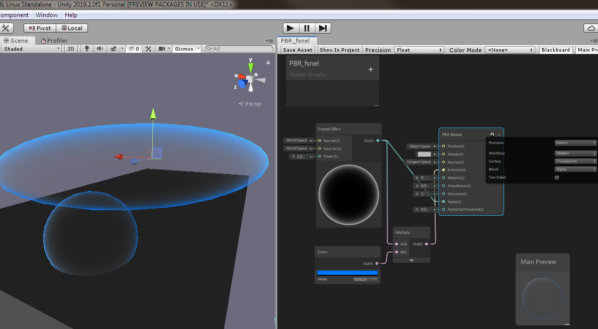 Fresnel Effect Not showing correctly in Unity 2019 2 0f1