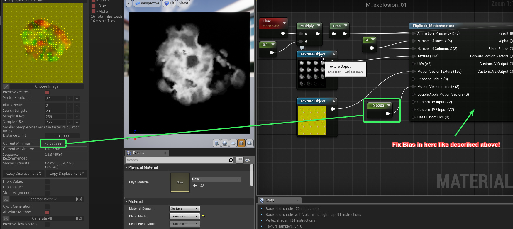 UE4's <Flip Book Motion Vector> Material Function works well