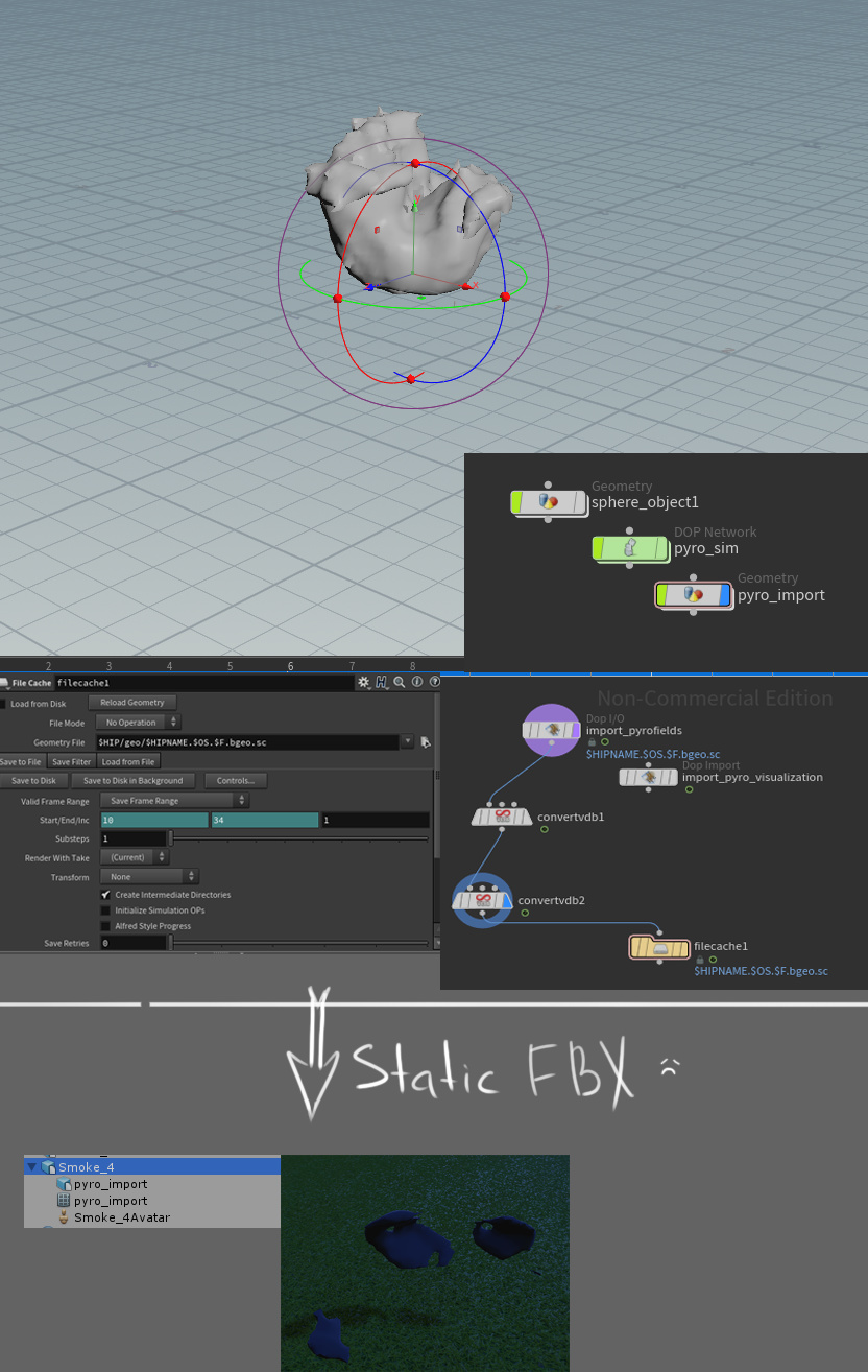 Import FBX chunk UE4 and Houdini - Real Time VFX
